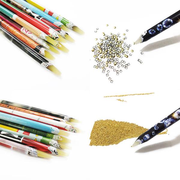 New 2pcs Nail Art Wax Pen Nail Rhinestone Picker Pencil Gem Crystal Pick Up Tool For Beauty Art Tools