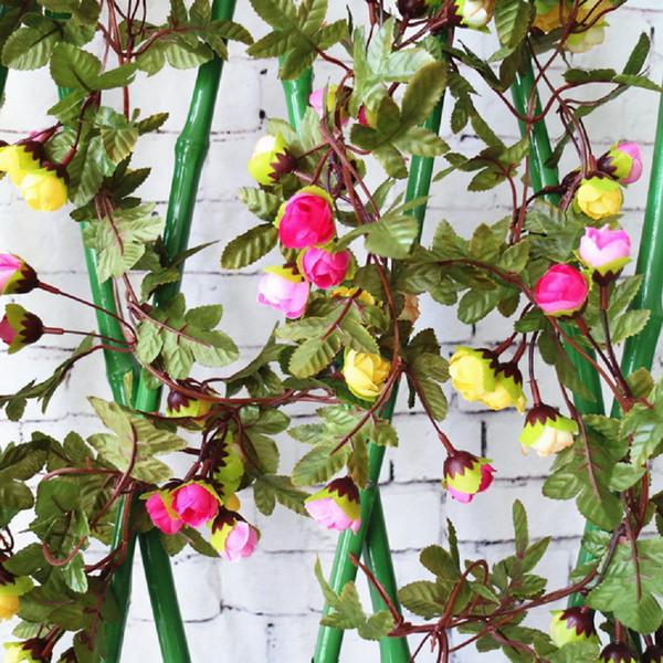 Yapay Ivy Gül Çiçek Yapraklar Vine Yeşillendirme Simülasyon Çiçekler Vine Yeşil Yaprak Ev Bahçe Düğün Dekorasyon Çelenk Dekor