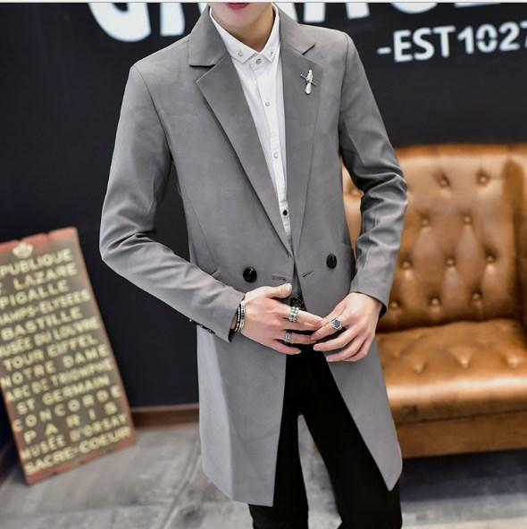Men's Double Breasted Slim Fit Formal Casual Jacket For Men Medium Long Trench Coat Mens Black Blue Gray Green Suits Jacket Male