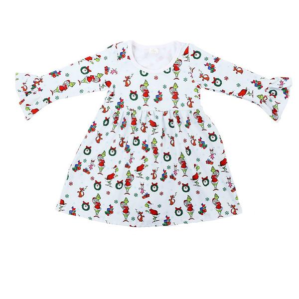 New Arrival Baby Girls Dresses Children White Cartoon Printed Milk Silk Dress Long Sleeves Fashion Kids Clothes