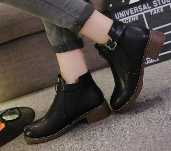 Plus Size Botas Lackleder Stiefel Frauen Schule Stil Schnürschuhe für Mädchen Rot Schwarz Motorrad Ankle BootsM 40