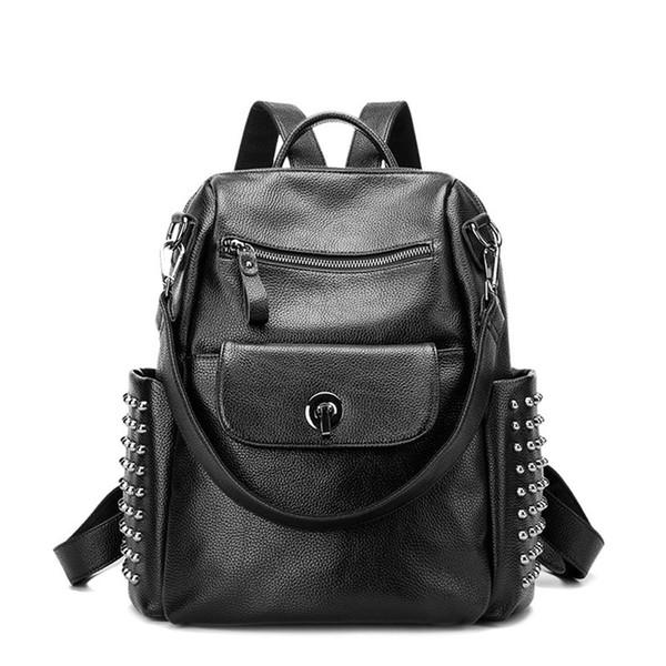 Zaino di cuoio genuino delle donne di modo Rivetto Zipper Travel Vera pelle di stile preppy Adolescente Sacchetto di scuola Ladies Back pack 2018