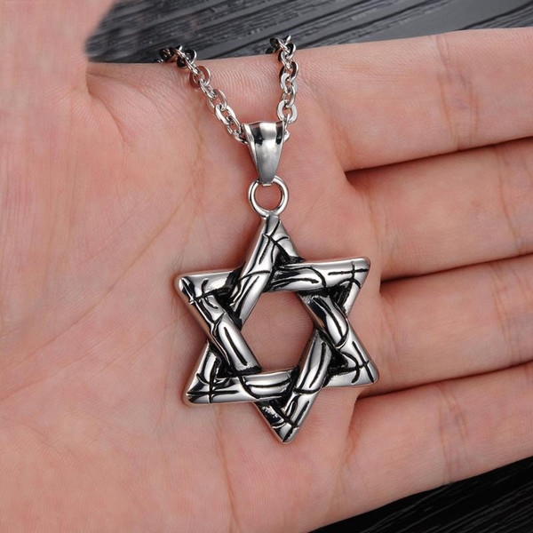 Retro Stainless Steel Six-Pointed Star Pendant Necklace Hexagram Style Trendy Rock Punk Unique Charming Trendy David Jewelry Gifts G881F