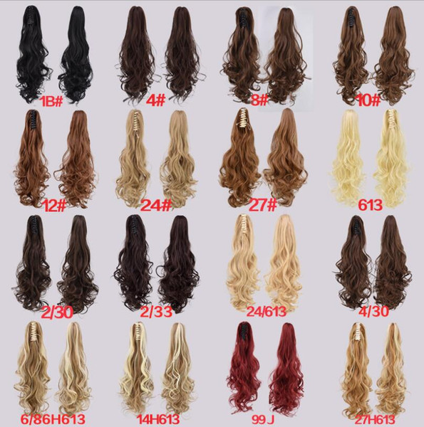 Wholesale- New Fashion Synthetic Claw Ponytail Clip In On Hair Extension Wavy Curly Style Hair Pieces 16 Colors Ponytails Free shipping