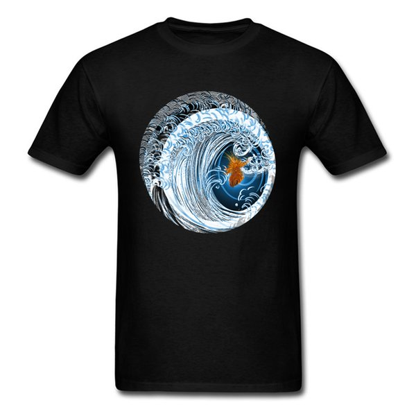 Gold In Blue 2018 Art Design Mens Tshirt Goldfish & Great Wave Cartoon Print Man T Shirt Summer Black Tops Plus Size