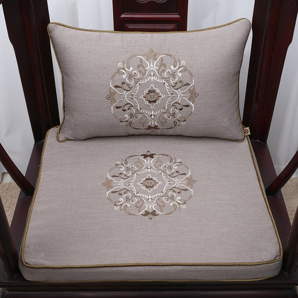 Embroidery Floral Vintage Chair Cushion Seat Home Decor Ethnic Waist Cushion Cotton Linen Chinese style Lumbar Pillow
