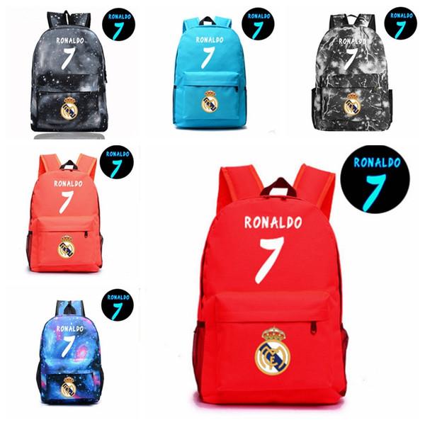 12colors Ronaldo 7 Noctilucous Luminous Backpacks children school bags cavas women man Shoulders storage bag MMA325 20pcs