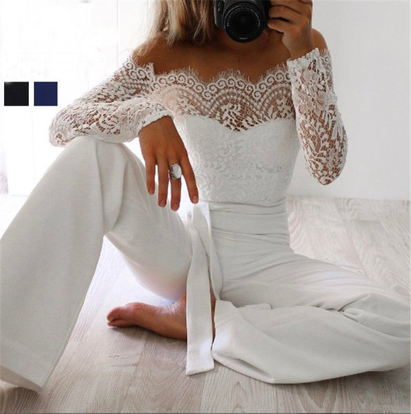 Super Fashion Spring Summer Jumpsuits Women High Quality Lace Patchwork Embroidery Sexy Party Jumpsuit Rompers Ladies Bodysuits Y1891901