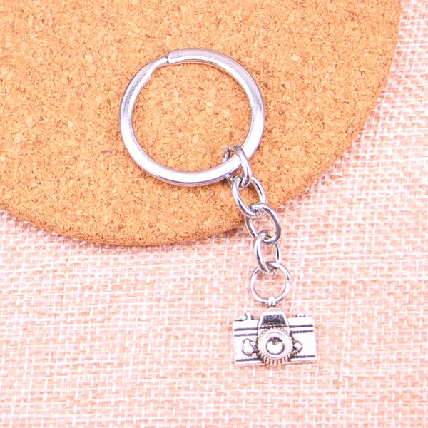 Fashion 28mm Key Ring Metal Key Chain Keychain Jewelry Antique Silver Plated camera 15*14mm Pendant