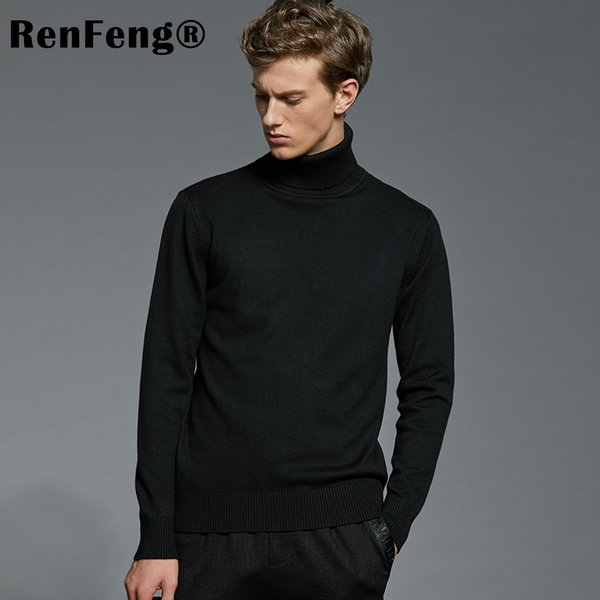Men's Knit Wear Jumpers Sweaters Slim Basic Tops Pullover Turtle Neck Solid Color New Pull Homme Wool Pullovers Men Sweater