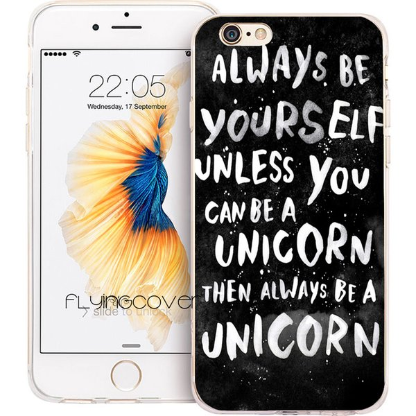 Coque Black Unicorn Quotes Clear TPU Cover in silicone per iPhone X 7 8 Plus 5S 5 SE 6 6S Plus 5C 4S 4 iPod Touch 6 5 Custodie.