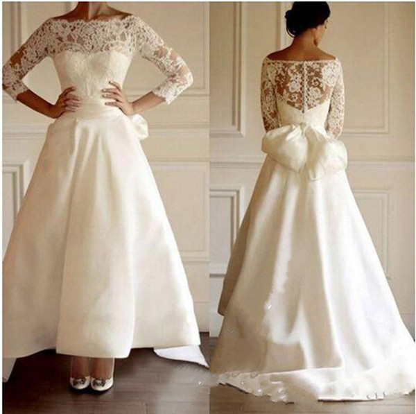 Modest High Low Simple Satin Wedding Dresses A-Line Illusion Bodice Lace Cheap Wedding Dress Bridal Gowns Custom Made