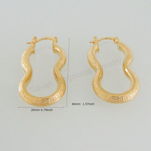 Vente en gros - MIN COMMANDE 10 $ / TWIST HOOP FORMÉ CLÉ GRECQUE - DIMENSION DE BOUCLE SUPERIEURE GP GOLD GOLD GP DIMENSION 20 * 40mm, BOUCLE D'OREILLE