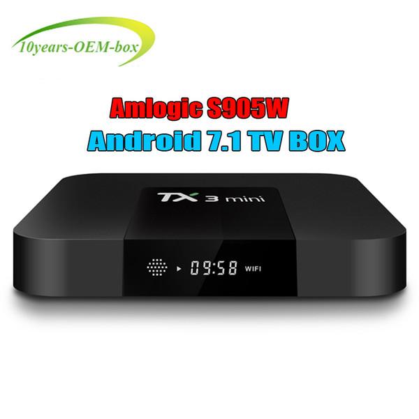 S905W Android 7.1 TV Kutusu TX3 Mini 2 gb 16 gb Akıllı 4 K TV LAN WIFI İnternet LED dijital ekran bağlamak