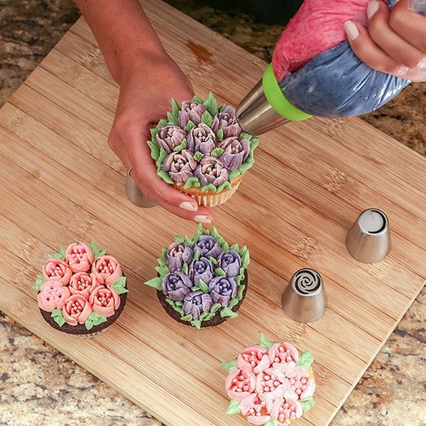 MEEOW 3pcs/set Bakeware Set Nozzle Cupcake Decor Cute Russia Nozzles Piping Tips Tulip Decorating Colorful Flowers