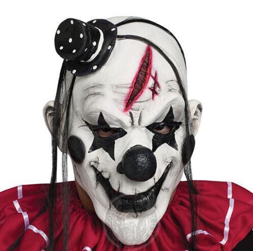 Deluxe Horrible Assustador Máscara de Palhaço Adulto Homens De Látex Cabelo Branco Halloween Palhaço Mal Assassino Demônio Palhaço Máscara