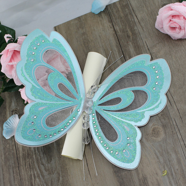 50Pcs Blue Purple Butterfly Invitation Card Elegant ,Scroll Wedding Invitation Card China,Wedding Engagement Party Supplies