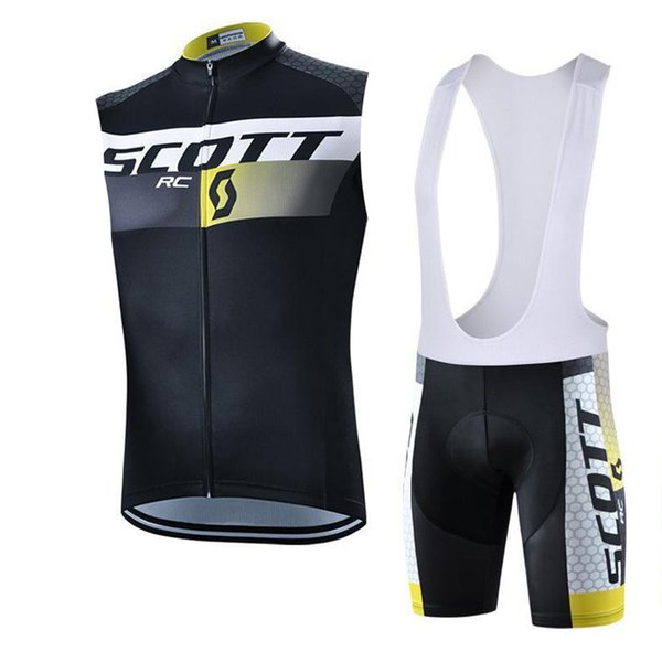 Tour de france SCOTT new Men Short Sleeve Cycling Jersey Kits Men Bib Short Cycling Kits Ropa Ciclismo Maillot Ciclismo 82417Y