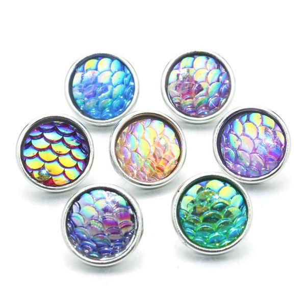 Mix Renkler 10 adet / grup kadın Bilezik Için 12mm Reçine Snaps Düğme Metal Yapış Bilezik 12mm Toptan Lots 9306