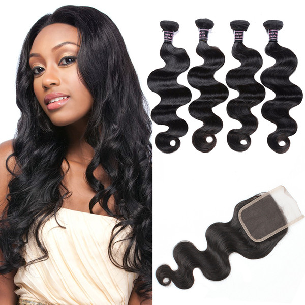 Cheap 8A Brazilian Body Wave With Closure Peruvian Hair 4 Bundles With Closure Malaysian Body Wave Human Hair Extensions Wholesale Price