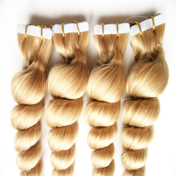 613 Blonde Brazilian Loose Wave Hair 12-26inch Tape In Remy Hair Extensions 80g 200g Blonde Color Indian Silky Human Tape in Hair