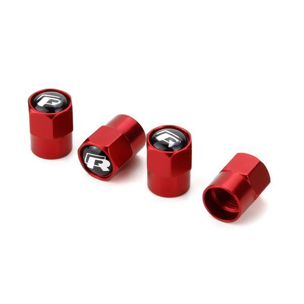 Black Word R Red Typer Mini Metal Válvula del neumático Válvulas Tapa antipolvo Tapas MT Emblema de la insignia del automóvil Insignias Válvula del neumático general Tapa de la válvula del automóvil