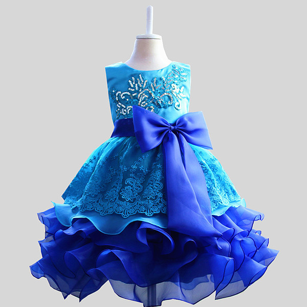 Brand New Girls Embroidery sequin Lace Flower Dresses layers TUTU dress Princess Girls Birthday party dance dress Tulle dress D17
