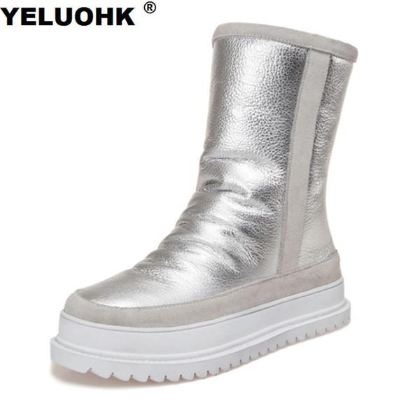 Acheter Nouveau Hiver Bottes Hautes Femmes Chaussures Chaudes Bottes De Neige Imperméable À L'eau Plate Forme Chaussures D'hiver Femme Avec Fourrure