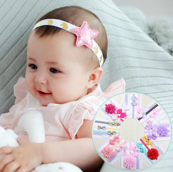 Cute 3ps/set handmade cotton bow flower headband girls hair accessories bowknots hairband for kids hair ornaments turban