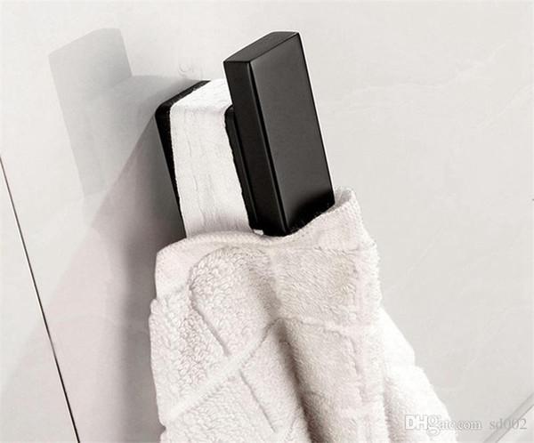 Vêtements électrodéposés crochet carré salle de bains accessoires matériel acier inoxydable épaississement porte noir laque serviette cap robe crochets 36jjjjj