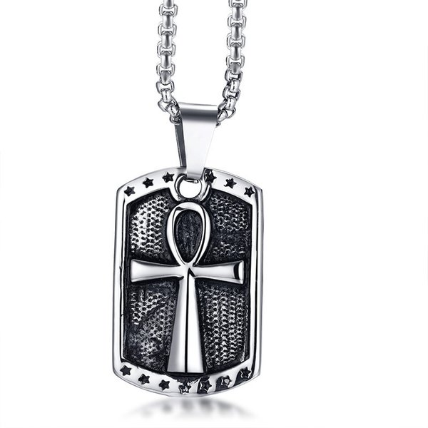 """Retro Mens Ankh Cross Necklace Vintage Egypt Silver Color Stainless Steel Free Chain 24"""" Necklace for Male Prayer Jewelry"""