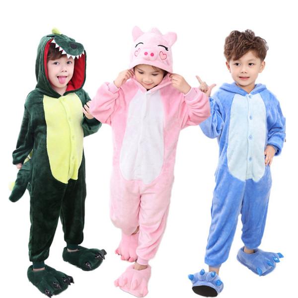 176e038c117e Мальчики девочки пижамы зима животных стежка свинья пижамы дети пижамы с  капюшоном ползунки пижамы для детей