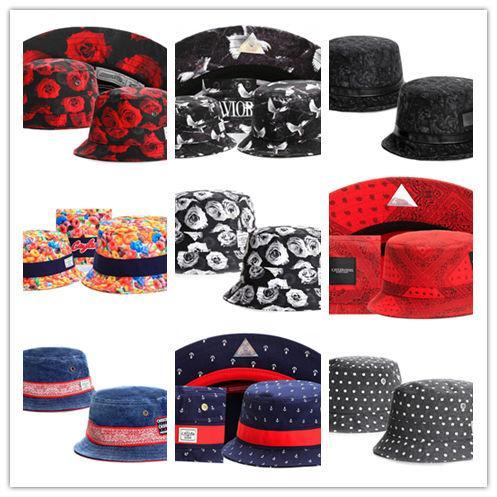 Sıcak Yeni Çiçek kırmızı Gül siyah Cayler Sons Kepçe Balıkçı Şapkaları Cimri Ağız Şapka Pamuk şapka Kap Kapaklar Mix Sipariş Yüksek Kalite Sıcak TYMY 17
