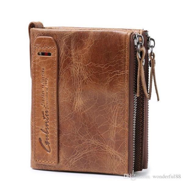 Genuine Crazy Horse Leather Men Cartera Monedero corto Pequeño Carteras Vintage Brand Alta calidad Diseñador carteira