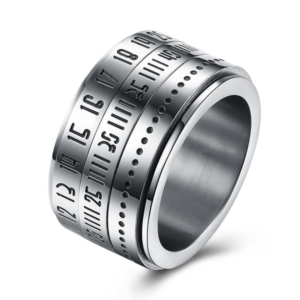 Punk Jewelry Roman Numbers Titanium Stainless Steel Rings for Men Novelty Design Rotatable Finger Mens Rings bague homme R211