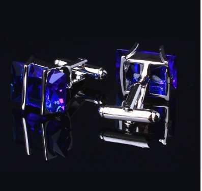 1 Paar Edelstahl Silber Blau Kristall Vintage herren Hochzeitsgeschenk Manschettenknöpfe Klassische Gitter Manschettenknöpfe