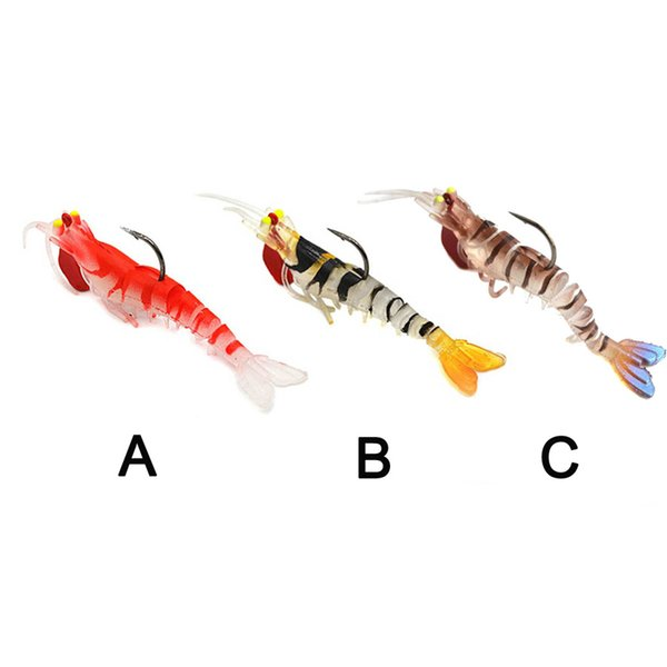 best selling 1PCS Soft Shrimp Fishing Lures Artificial Shrimp Baits 7g 13g 19g Soft Lure Bionic Bait With Lead Weight and Hook 2508200