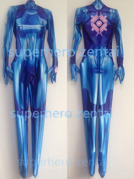 3D Print Spandex Newest Zero Suit Samus Aran Costume Metroid Game Zentai Catsuit women/kids/custom/wholesale