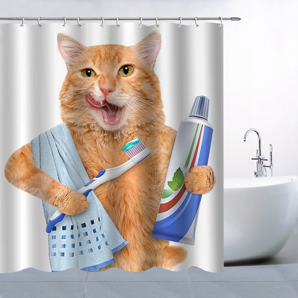 Lovely Cat Brush Teeth Fun Animal White Shower Curtain,70x70 Inch Waterproof Mildew Resistant Polyester Fabric Curtains With 12pc Hook