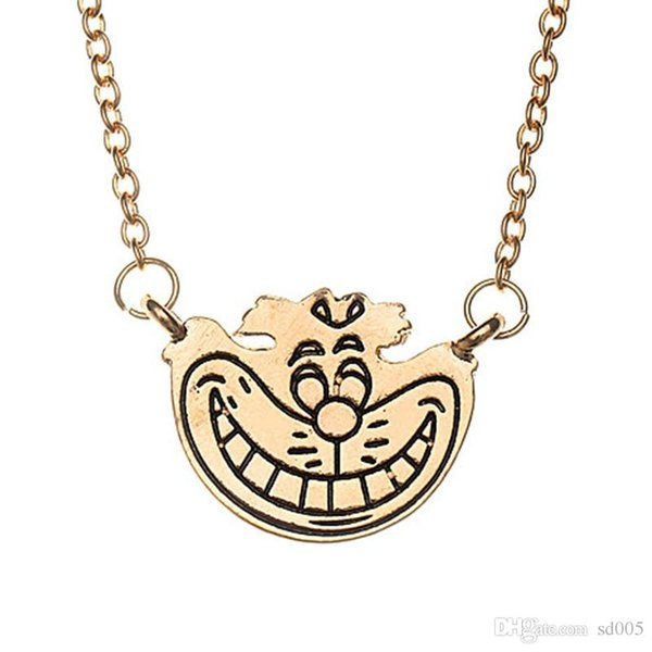 Alice In Wonderland Cheshire Cat Necklace For Women Ladies Metal Pendant Lovely Smile Face Jewelry Factory Direct Sale 2mc BB