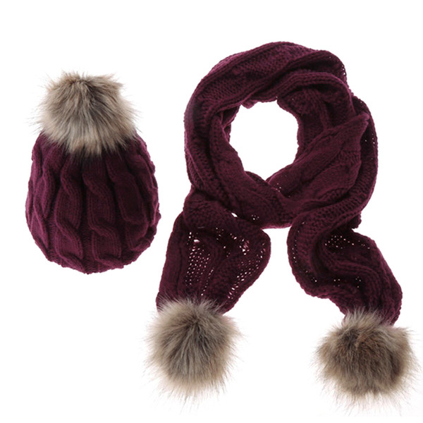 New Women Hat and Scarf Set for Women Spring Winter Warm Thicken Knitted Faux Fur Wool Hat Scarf 5 Colors Apparel Accessories