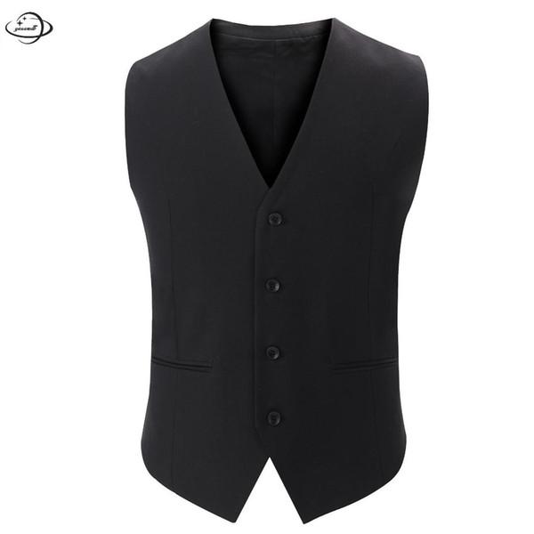YAUAMDB hommes costumes gilets 2018 printemps automne M-3XL blazer en coton gilet unique bouton vêtements Angleterre style homme top vêtements 59