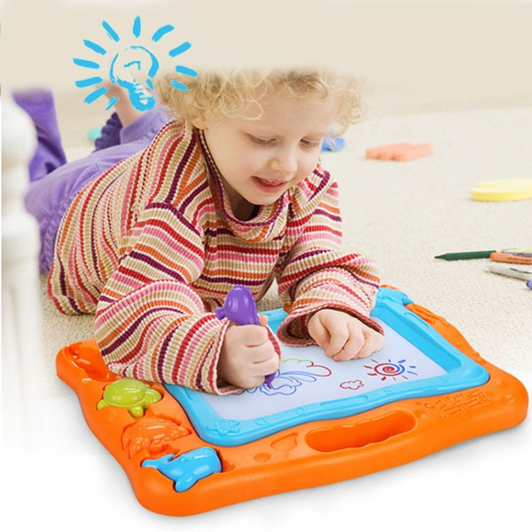 top popular Children big size color drawing board educational toy colorful magnetic writing pad baby graffiti plaything push forward to erase 2019