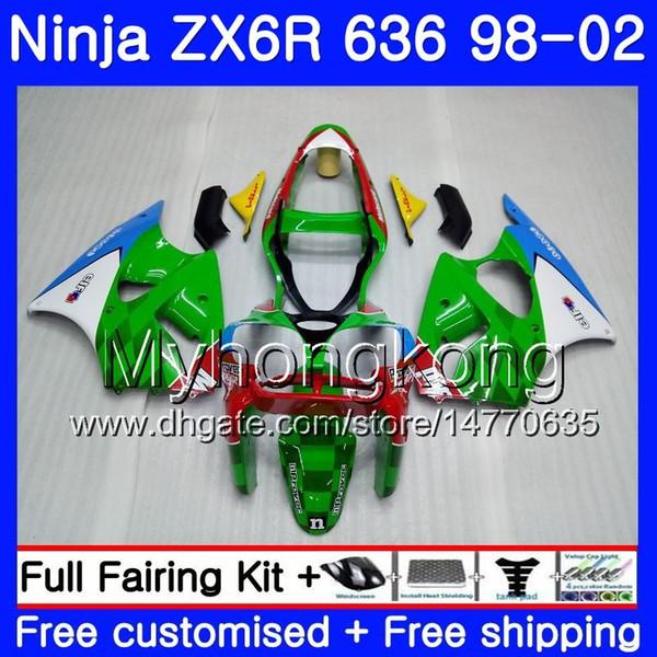 ZX-6R Para KAWASAKI NINJA ZX600 600CC ZX636 ZX6R 98 99 00 01 02 212HM.1 ZX-636 ZX 6R 636 6 R Verde blanco rojo 1998 1999 2000 2001 2002 Carenado