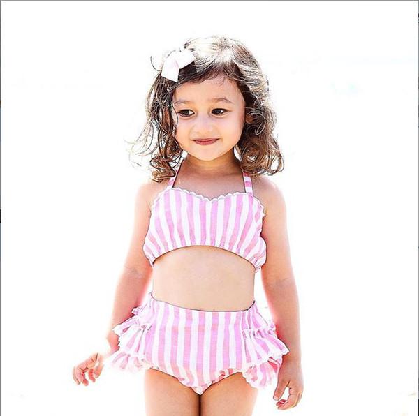 fa1fa33faa71f Summer Baby Girls Two-piece Striped Pink Swimwear Kids Swimsuits Lace Ruffles  Bikini Bandage Swimsuit Bathing Suit Beach Wear