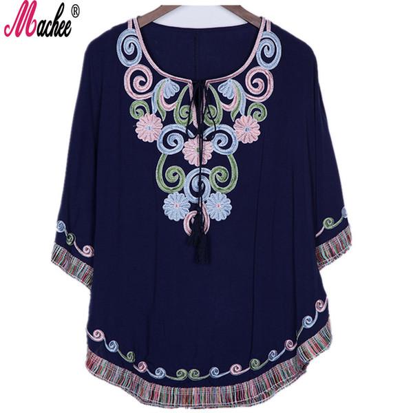 2018 Nuevo Verano Vintage Femenino Étnico Mexicano Floral Camisa Suelta Tops Hippie Boho Algodón Largo Mujer Bordado Blusa Vestido