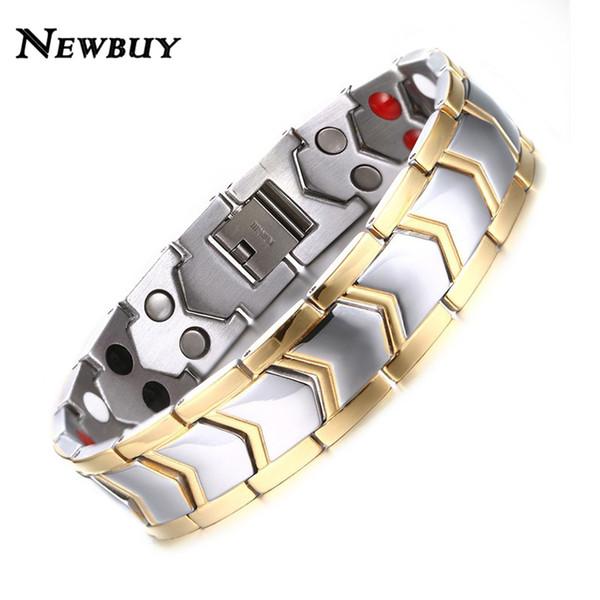 NEWBUY Healthy Stainless Steel Magnetotherapy Bracelet Men Jewelry New Fashion Bio Energy Magnet Bracelets & Bangles