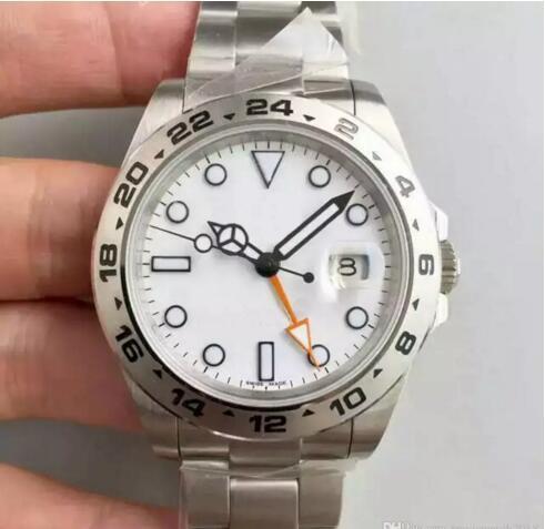 2018 Luxe nouvelle montre hommes mouvement automatique en acier inoxydable blanc grand cadran 40mm mens montre de sport montre-bracelet mens montres livraison gratuite