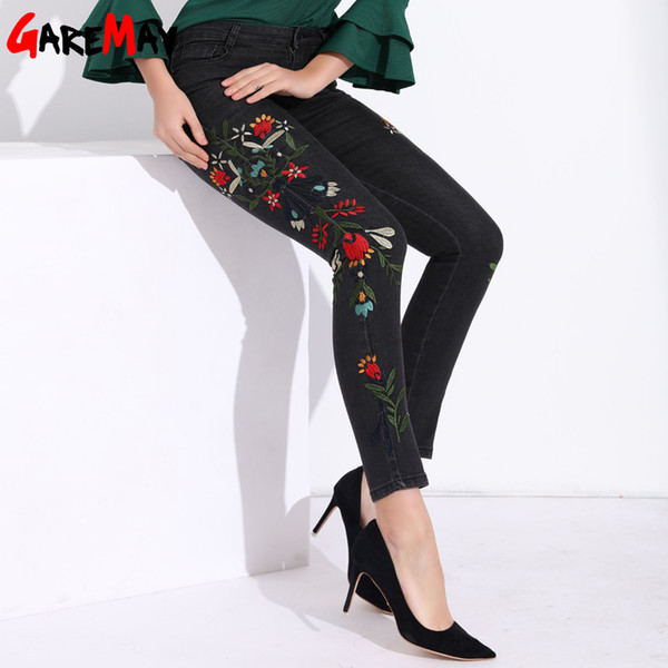 Garemay Stretch Women Jeans With Embroidery Capri Black High Waisted Jeans Plus Size Floral Pants Womens Denim Pants Woman