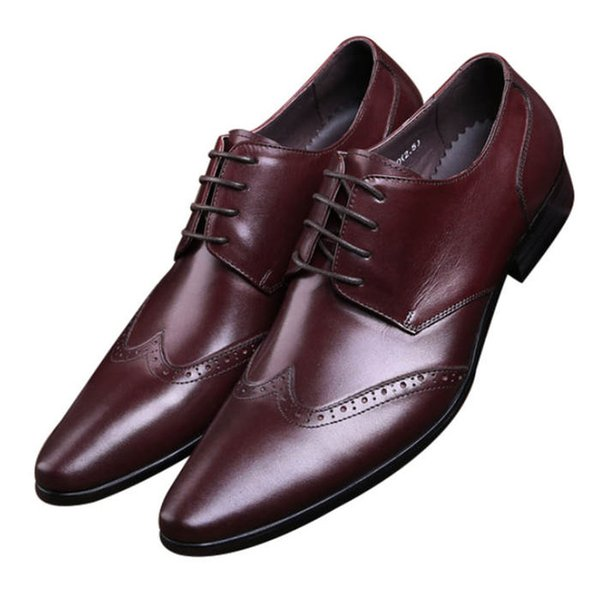 Fashion Black / Brown Tan Pointed Toe Business Shoes Mens Dress Shoes Genuine Leather Oxfords Boys Prom Shoes